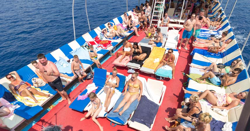 Sun baths on the double decker boat