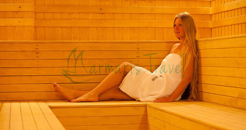 you will enter a room that resembles a sauna which is hot